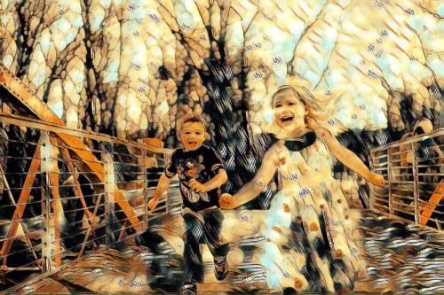 kids photo turned to art
