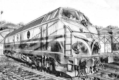 train converted to pencil sketch