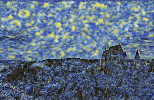 castle painted as starry night at ultra hd
