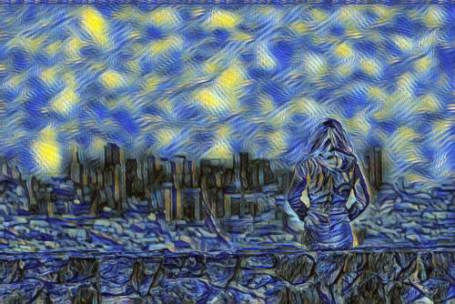 city scene in starry night style