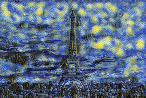 eiffel tower painted as starry night