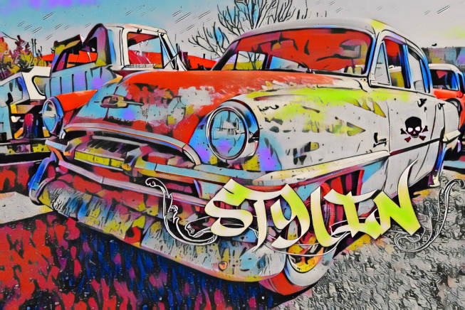 old car artwork with text blended